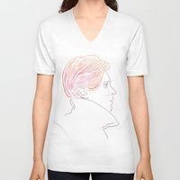 bowie V-neck T-shirts featuring Bowie by Bruno Gabrielli
