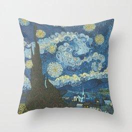 Swirly Night Throw Pillow