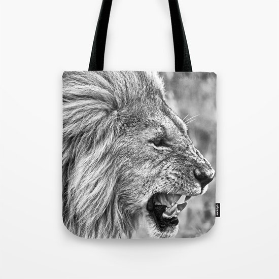 Lion head black and white Tote Bag