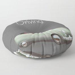 Love driving vintage car poster. Floor Pillow