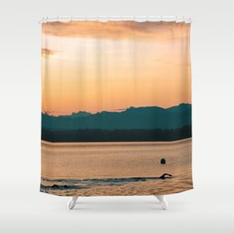 Morning Swim in the Lake Shower Curtain