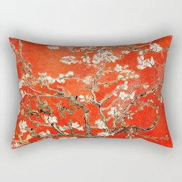 Red Almond Blossoms - Van Gogh (new color edit) Rectangular Pillow