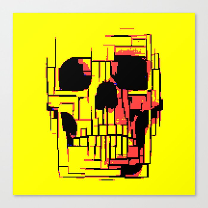 Pixelated Skull Canvas Print