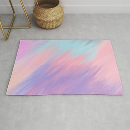 Modern abstract artsy pink lavender teal brushstrokes Rug