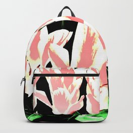 Rose White Tulpis on black Background Clipart Backpack