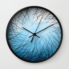 Cyan Linear Crosshatch Wall Clock