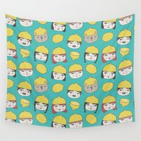 hats Wall Tapestries featuring Pattern Project #10 /Lemon Hats by Anke Weckmann