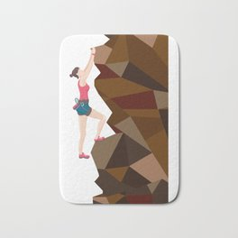 Vintage Cool Girl Rock Climbing Bath Mat