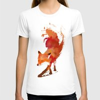 water color T-shirts featuring Vulpes vulpes by Robert Farkas