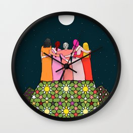 Sisterhood under the full moon Wall Clock