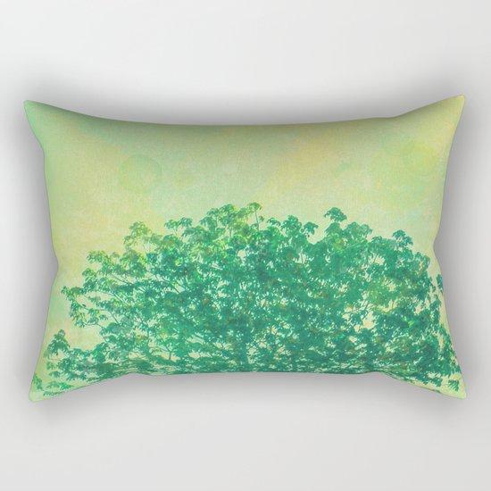 Green Lone Tree, Summer Sunlight Rectangular Pillow