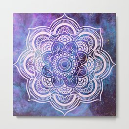 Galaxy Mandala Purple Lavender Blue Metal Print