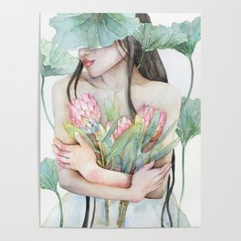 Lena Holding Proteas and Surrounded by Lotus Leaves Poster