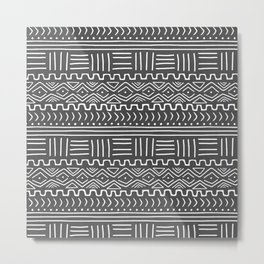 Mud Cloth on Gray Metal Print