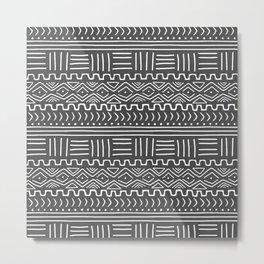 Mud Cloth on Gray Metal Print
