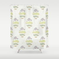 cars Shower Curtains featuring Cars by Lena Pflüger Illustration