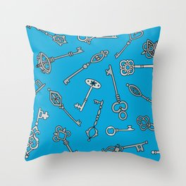 Blue Skeleton Keys Throw Pillow