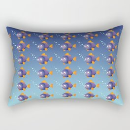 Violet Fish with Bubbles Rectangular Pillow