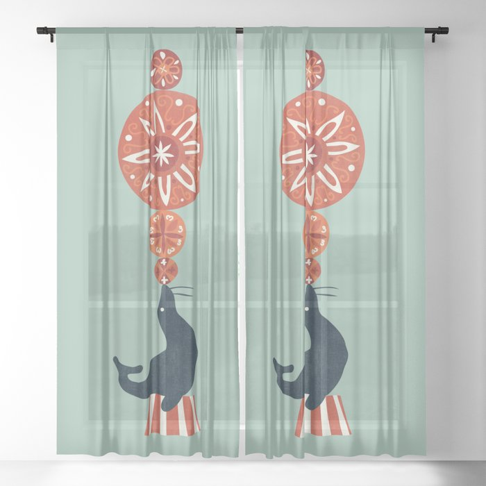 Circus Seal Sheer Curtain