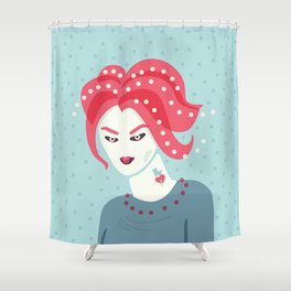 Portrait Of A Girl With Pink Hair Shower Curtain