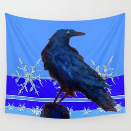 BLUE CROW WINTER SNOWFLAKE ART Wall Tapestry