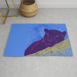 Purple panther on a branch - Blue Rug