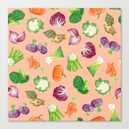Peach pink veggies illustration pattern | Vegetables pattern Canvas Print