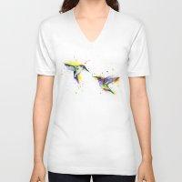 hummingbird V-neck T-shirts featuring Hummingbird  by Slaveika Aladjova