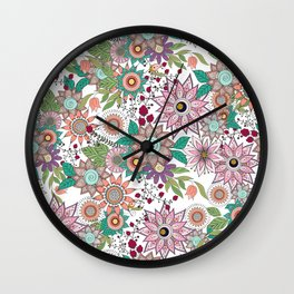 Stylish floral doodles vibrant design Wall Clock