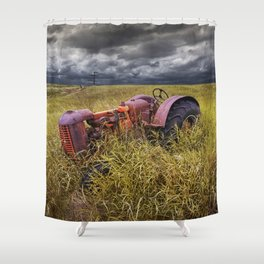 Abandoned Farm Tractor on the Prairie Shower Curtain