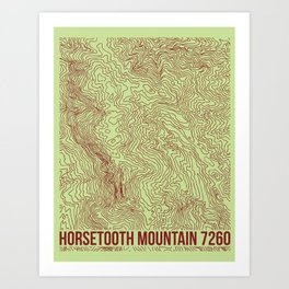 Horsetooth Topography USGS Colors Art Print