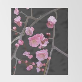 painted plum blossom black Throw Blanket