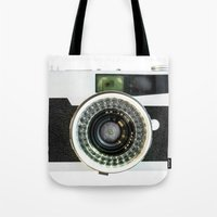 vintage camera Tote Bags featuring Vintage camera by cafelab
