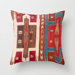 Sivas Saf Central Anatolian Kilim Print Throw Pillow