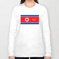 korean Long Sleeve T-shirts featuring north korea country flag korean name text by tony tudor