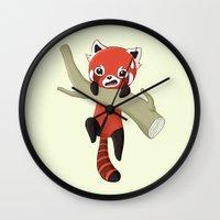 red panda Wall Clocks featuring Red Panda by Freeminds