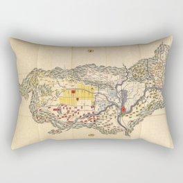Map of Yamashiro province (with Kyoto), 19th century Japan Rectangular Pillow