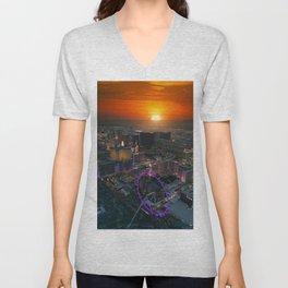 Sunset in Vegas Unisex V-Neck