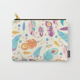 Pretty Boho Peacock Feather Pattern Carry-All Pouch
