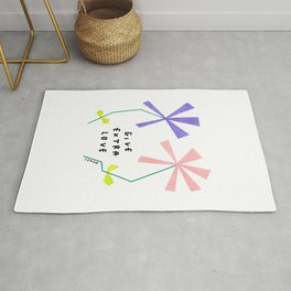 Flower Kindness Minimalist Illustration Give Extra Love Rug