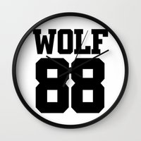 exo Wall Clocks featuring EXO WOLF 88 by Cathy Tan