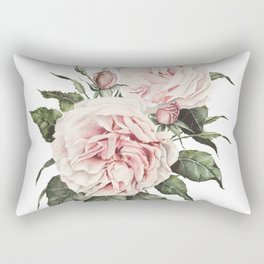 Pink Garden Roses Watercolor Rectangular Pillow