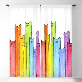 Cat Rainbow Watercolor Pattern Blackout Curtain