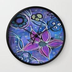 Purple Flowers Background Wall Clock