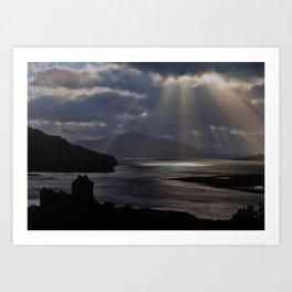 Sun Rays over Eilean Donal Castle Art Print