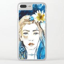 Boho girl Clear iPhone Case