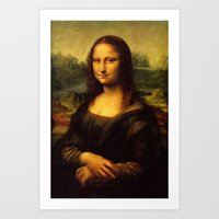 mona lisa Art Prints featuring Mona Lisa by Elegant Chaos Gallery