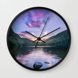 Wicklow Glendalough sunset over lake Wall Clock