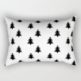 Black and White Christmas Trees Rectangular Pillow