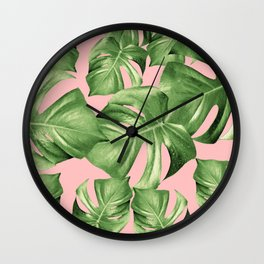 Monstera Leaves Blush Summer Vibes Pattern #1 #tropical #decor #art #society6 Wall Clock